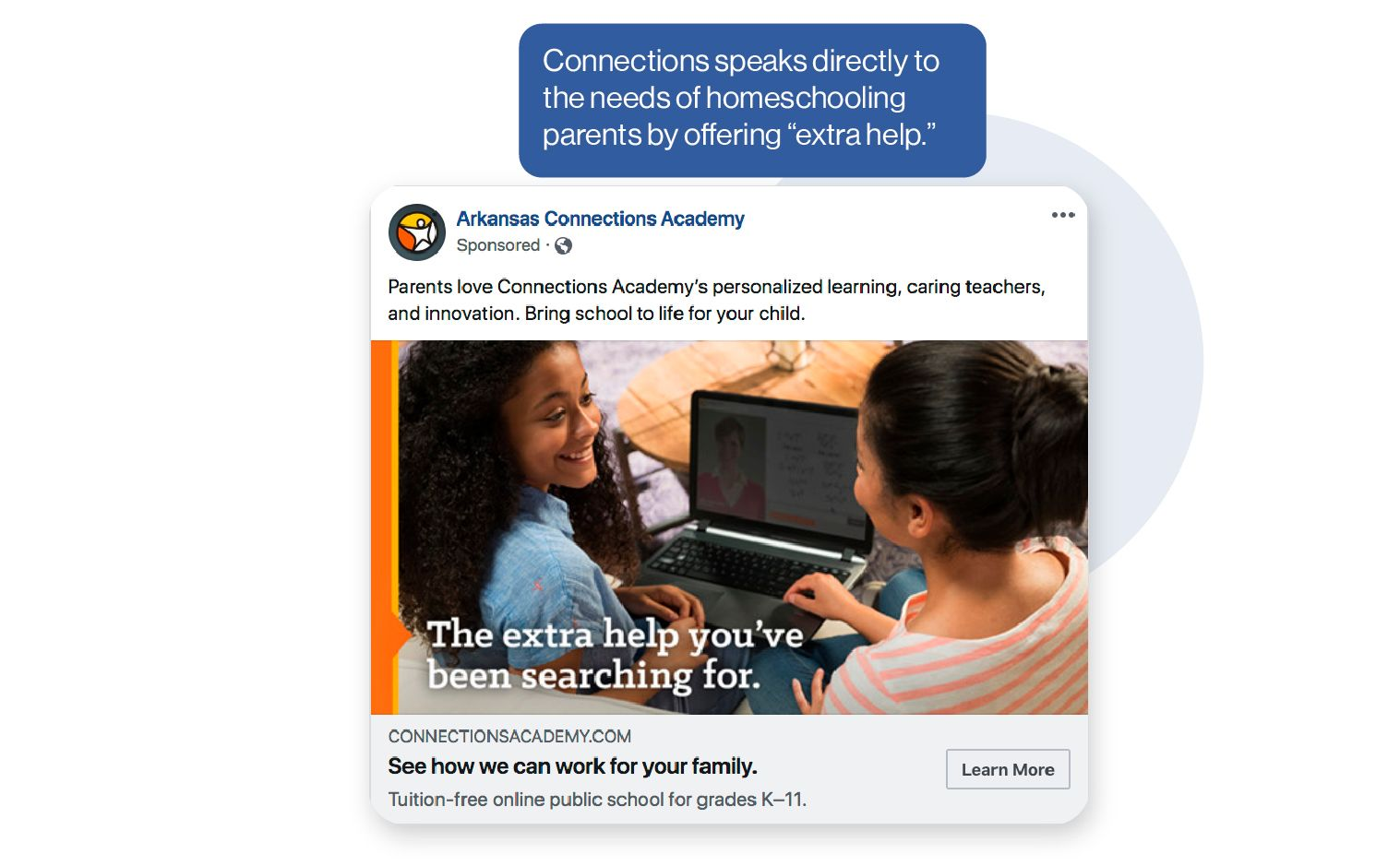 Image: A Connections Academy ad example showing that Connections speaks directly to the needs of homeschooling students by offering