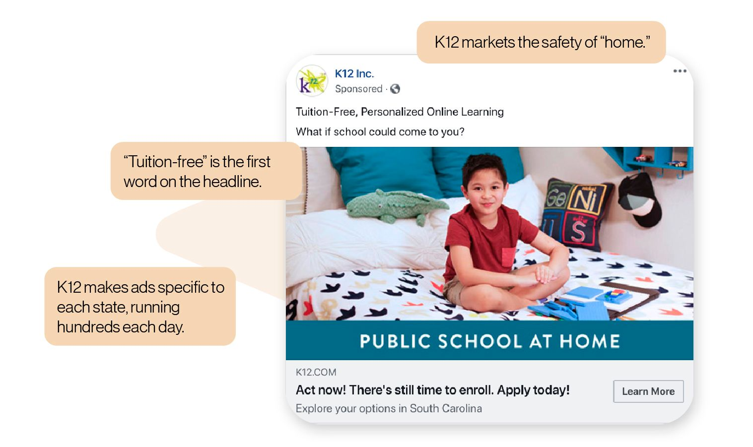 Image: A K12 Inc. Facebook ad showing a child in his own room - reemphasizes safety and free tuition