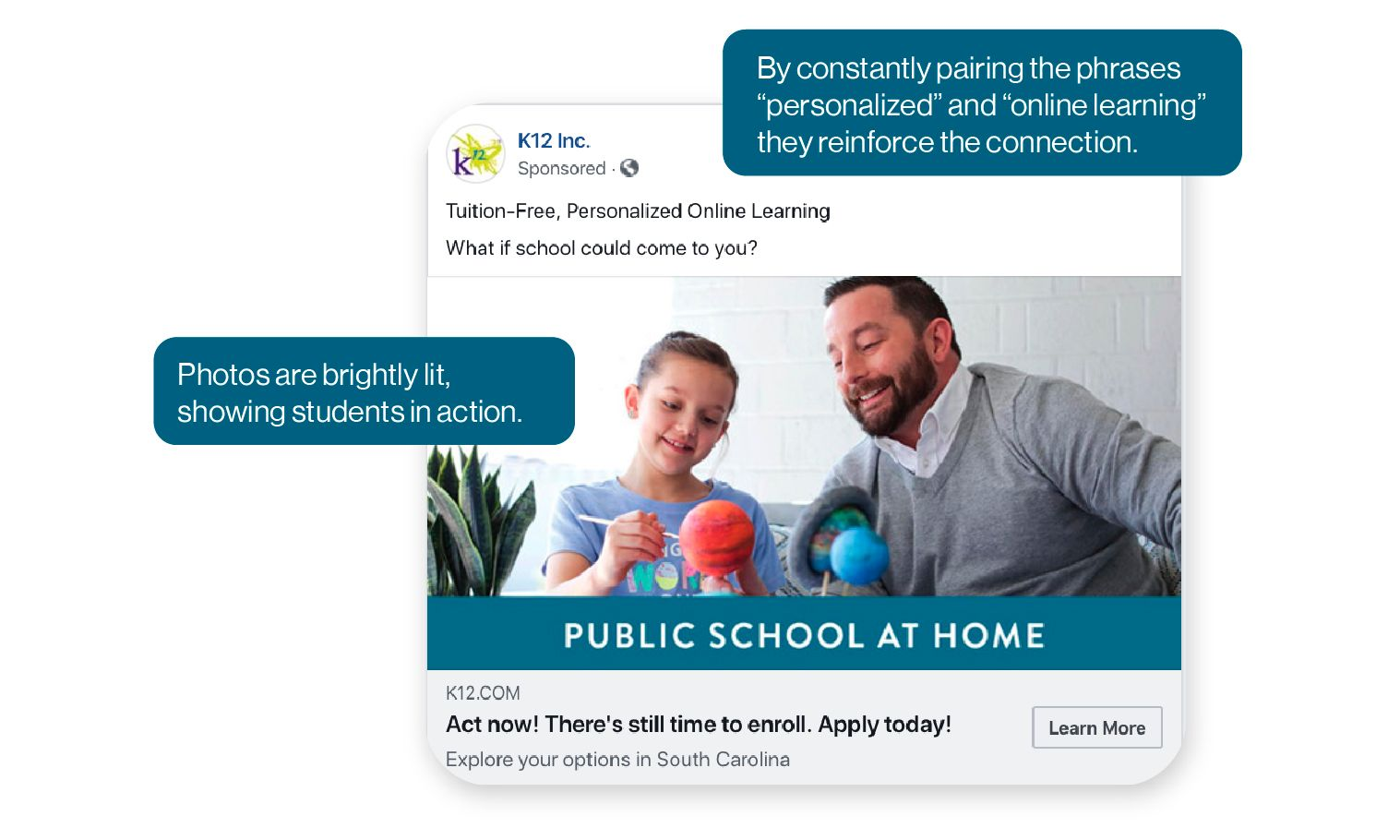 Image: K12 Inc. Ad example showing how K12 constantly pairs the phrases