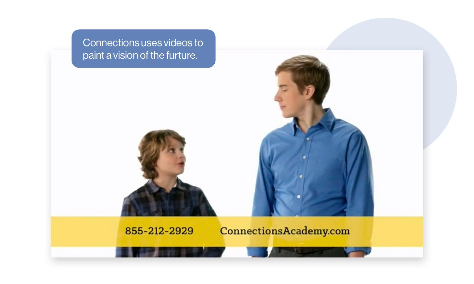 Image: Screengrab from a Connections Academy video ad showing a young boy looking at a future version of himself. Connections uses videos to paint a vision of the future for prospective students and their families.