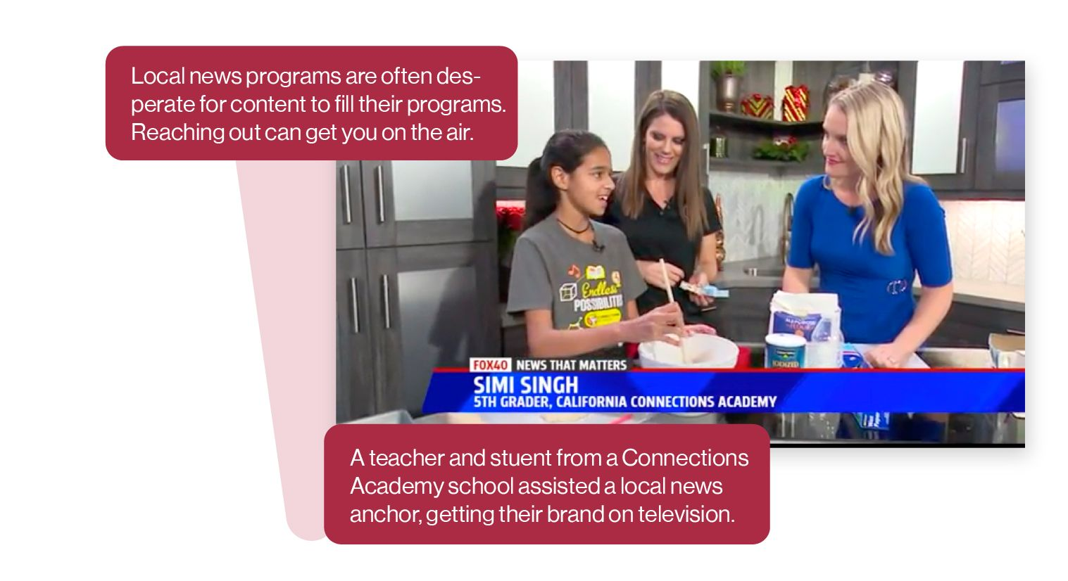 Image: Screen capture from a Connections Academy spot on a local TV news station, featuring a Connections student and their teacher talking with the news anchor. Local news programs are often looking for content, so reaching out can get you on the air.
