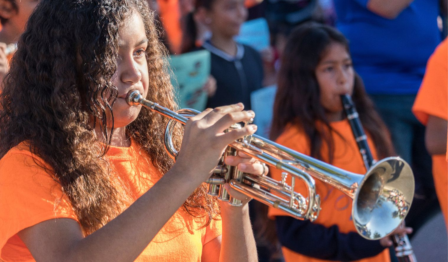 Image: A student playing a trumpet