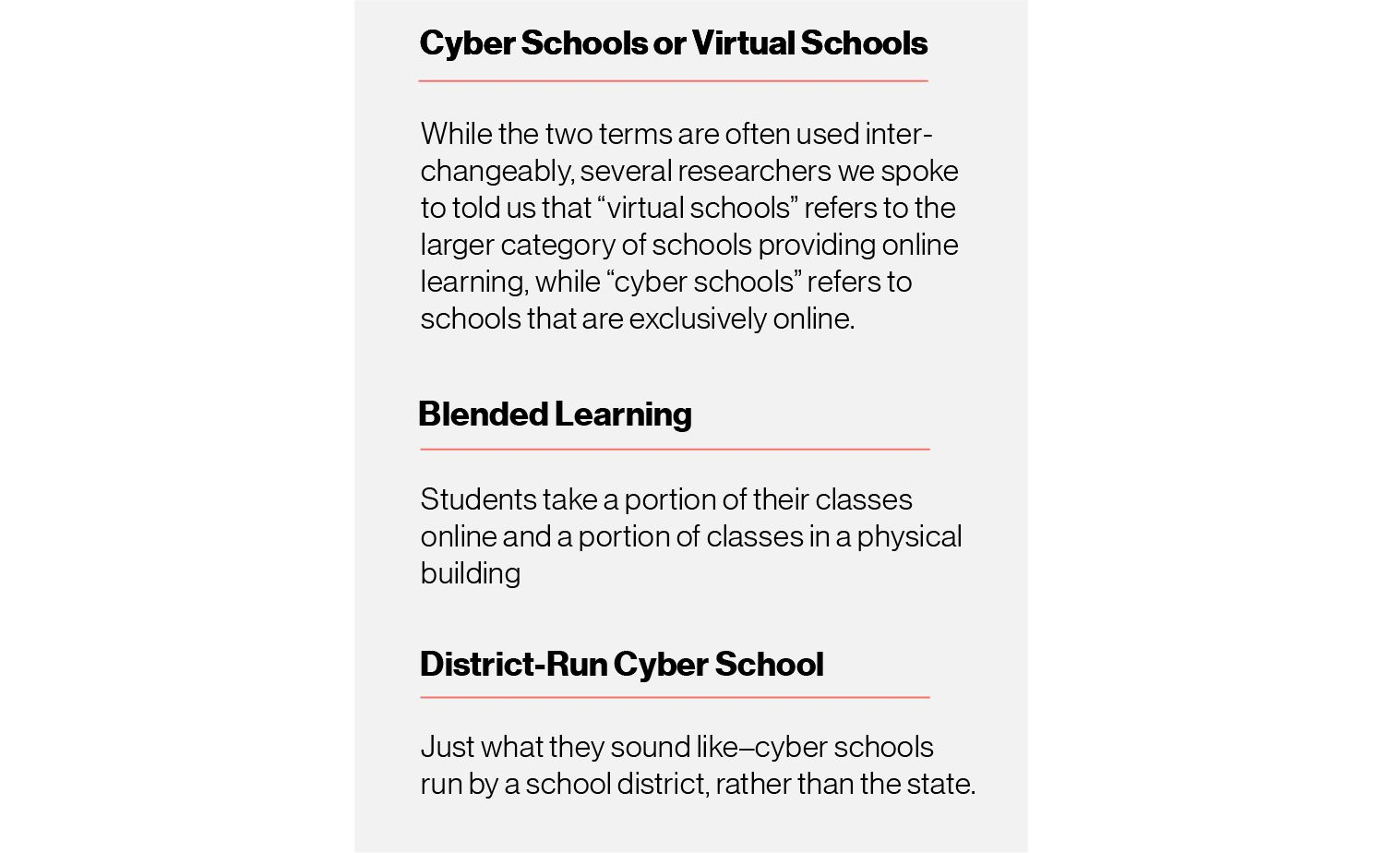 Graphic: Cyber schools or virtual schools definition — While the two terms are often used interchangeably, several researchers we spoke to told us that
