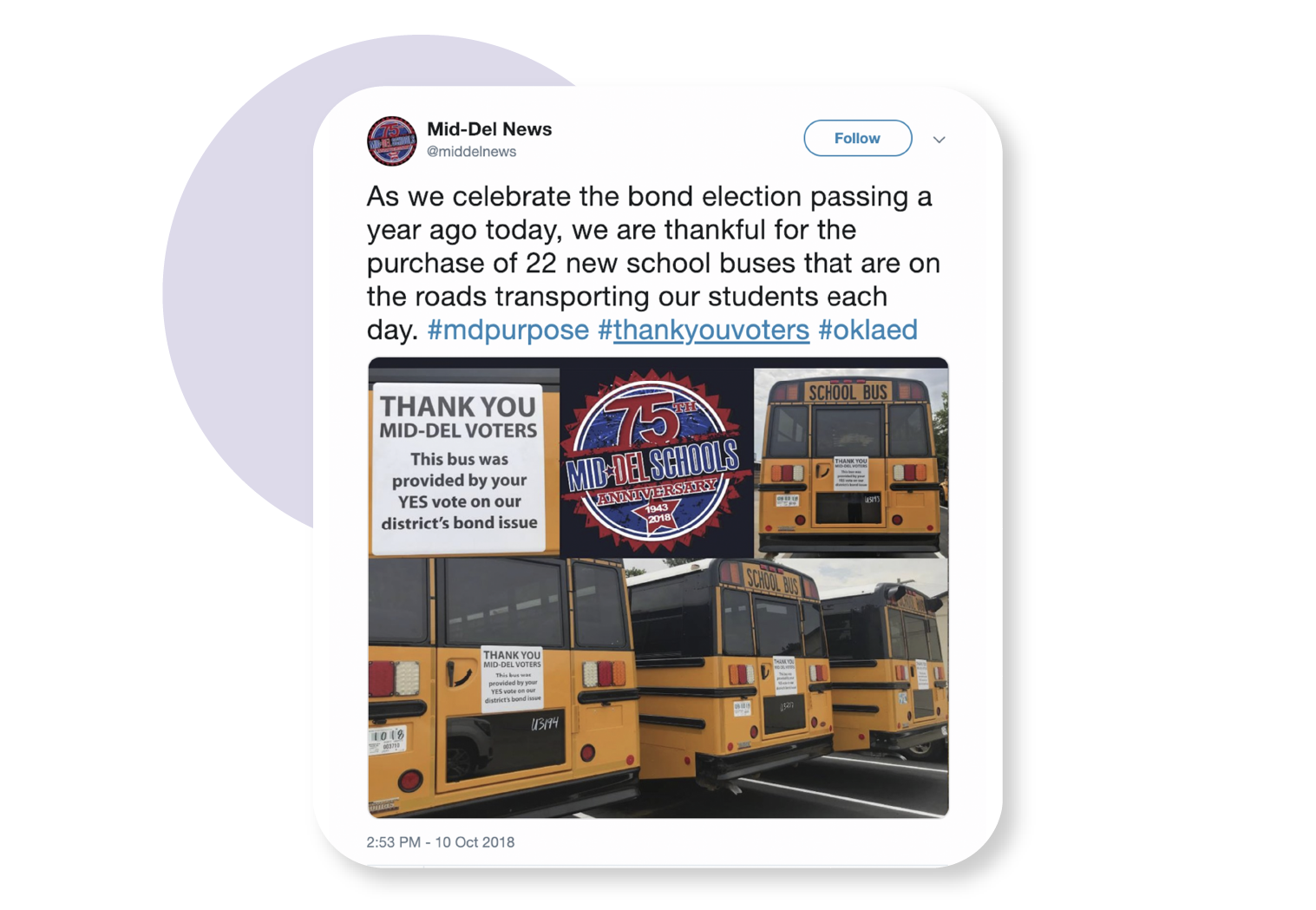 image showing tweet from middelnews using the thank you voters hashtag
