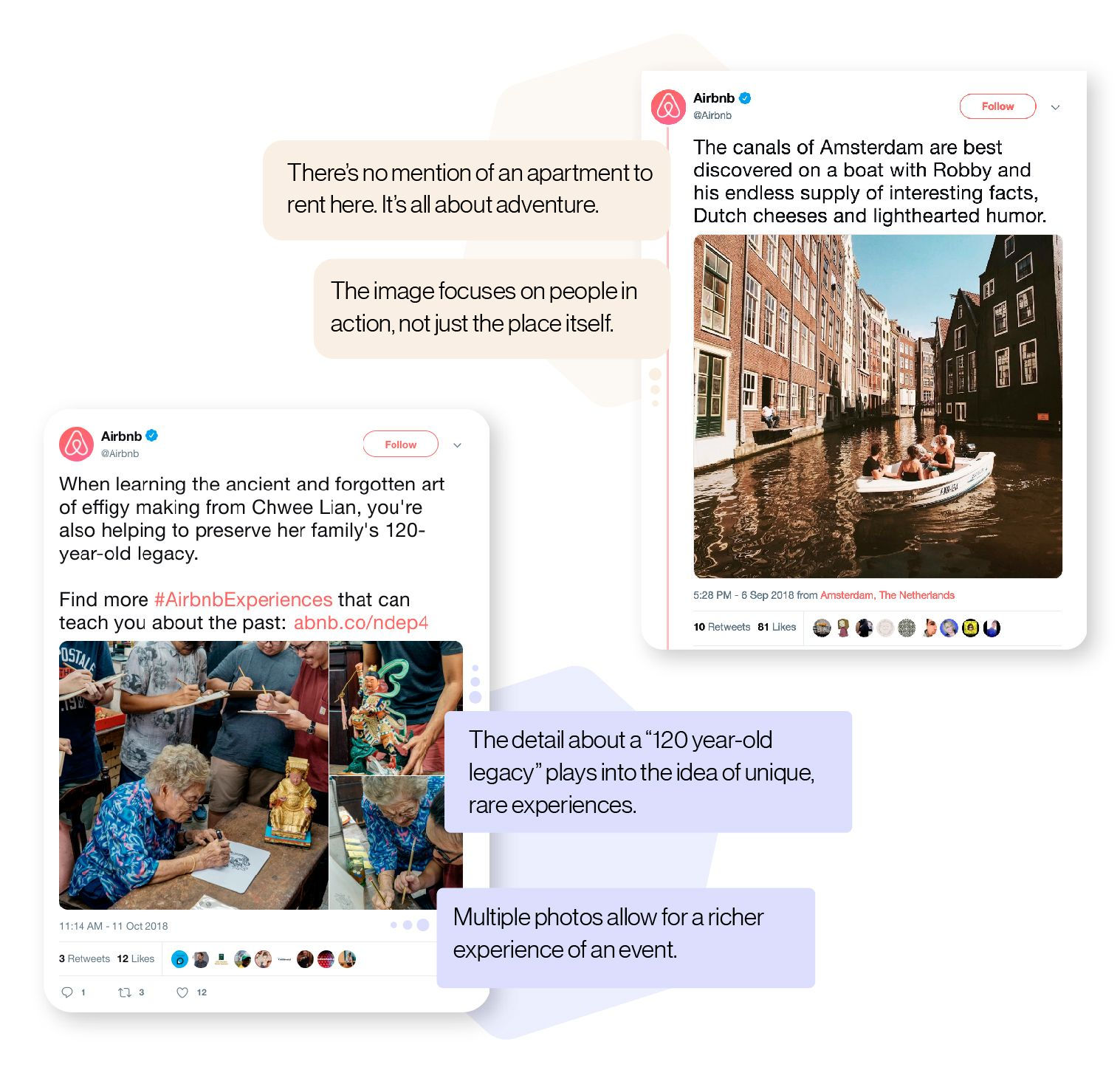 Image: Examples of tweets from Airbnb that highlight how they promote experiences and adventure, rather than just talk about apartment listings