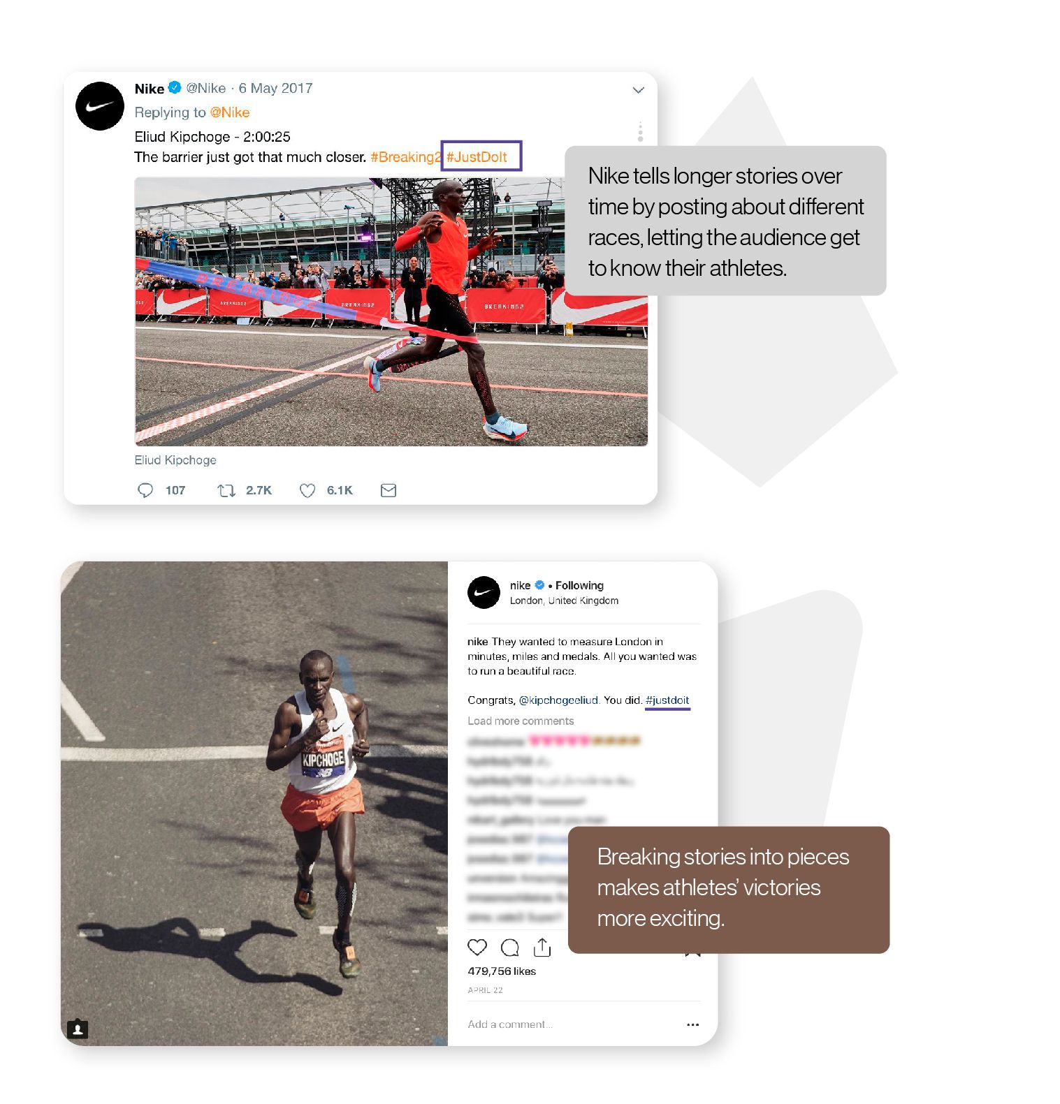 Image: Two tweets by Nike highlighting a specific marathoner over several races, an example of how Nike tells longer stories over time that make their athletes' victories more exciting.