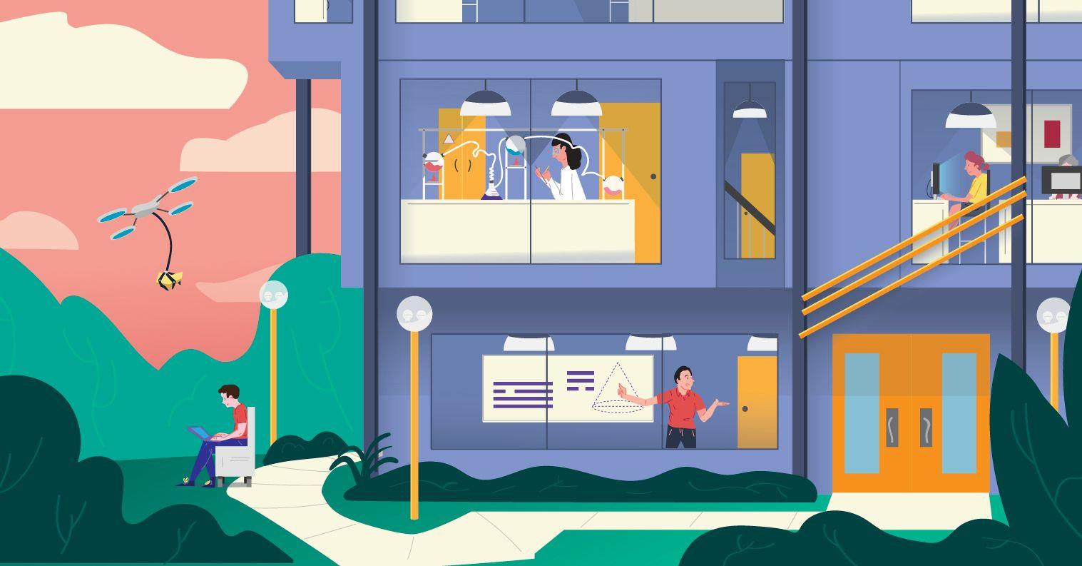 image: futuristic school
