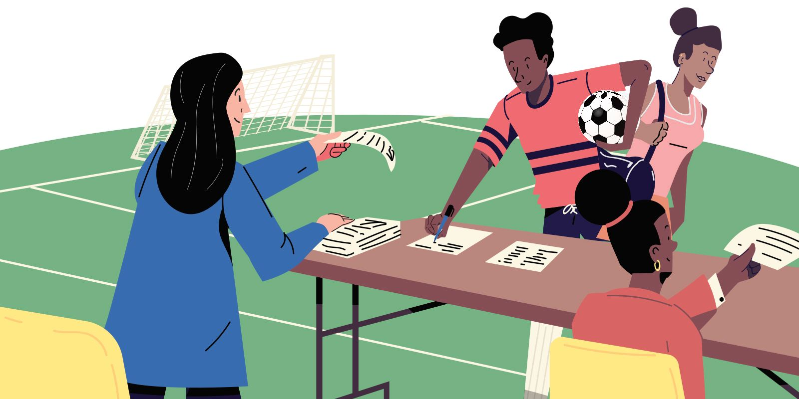 A drawing depicting a citizen signing up for a soccer tournament.