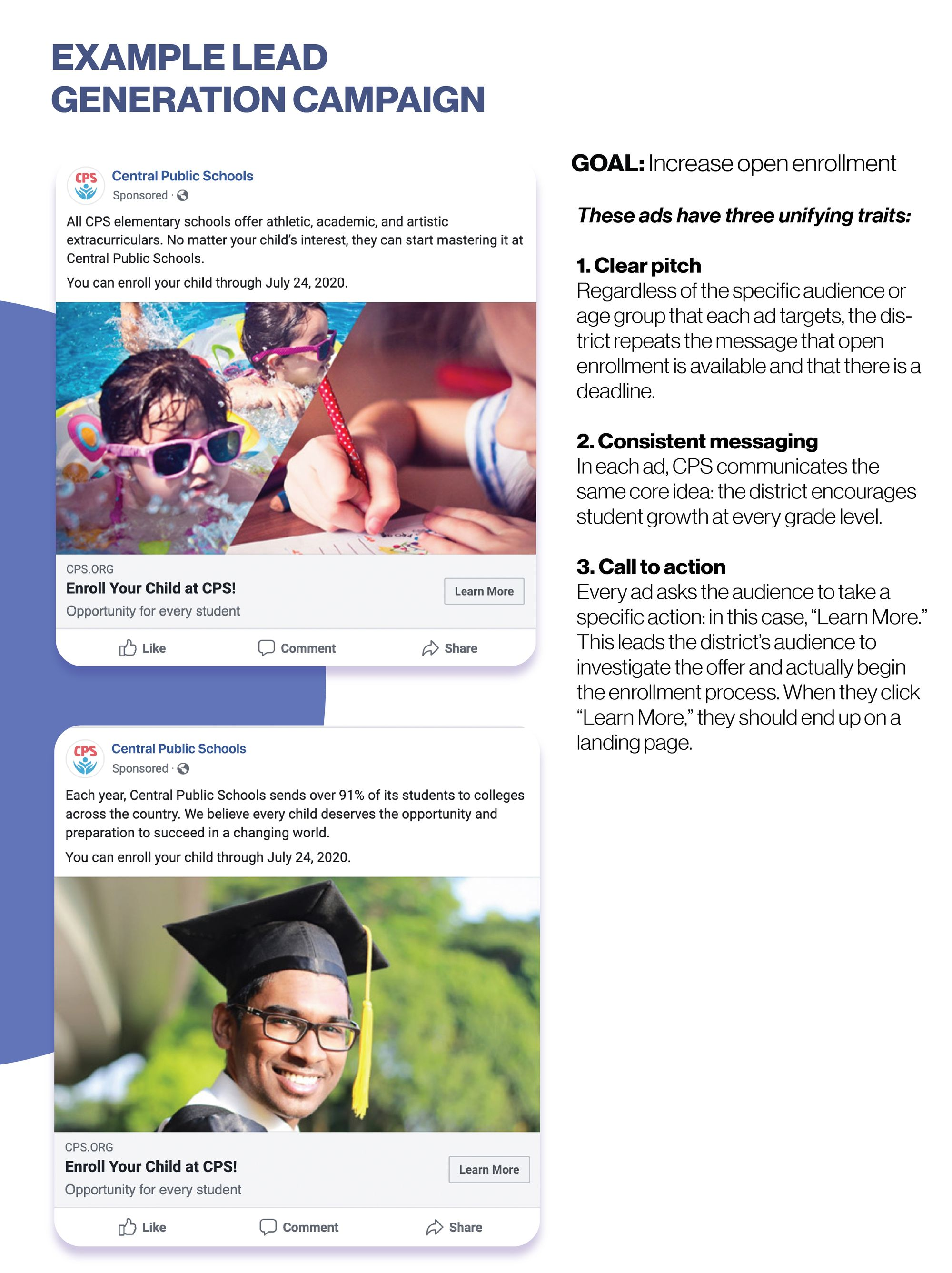 Two example Facebook advertisements for a lead generation enrollment campaign. Both have a clear pitch, consistent messaging, and a call to action.