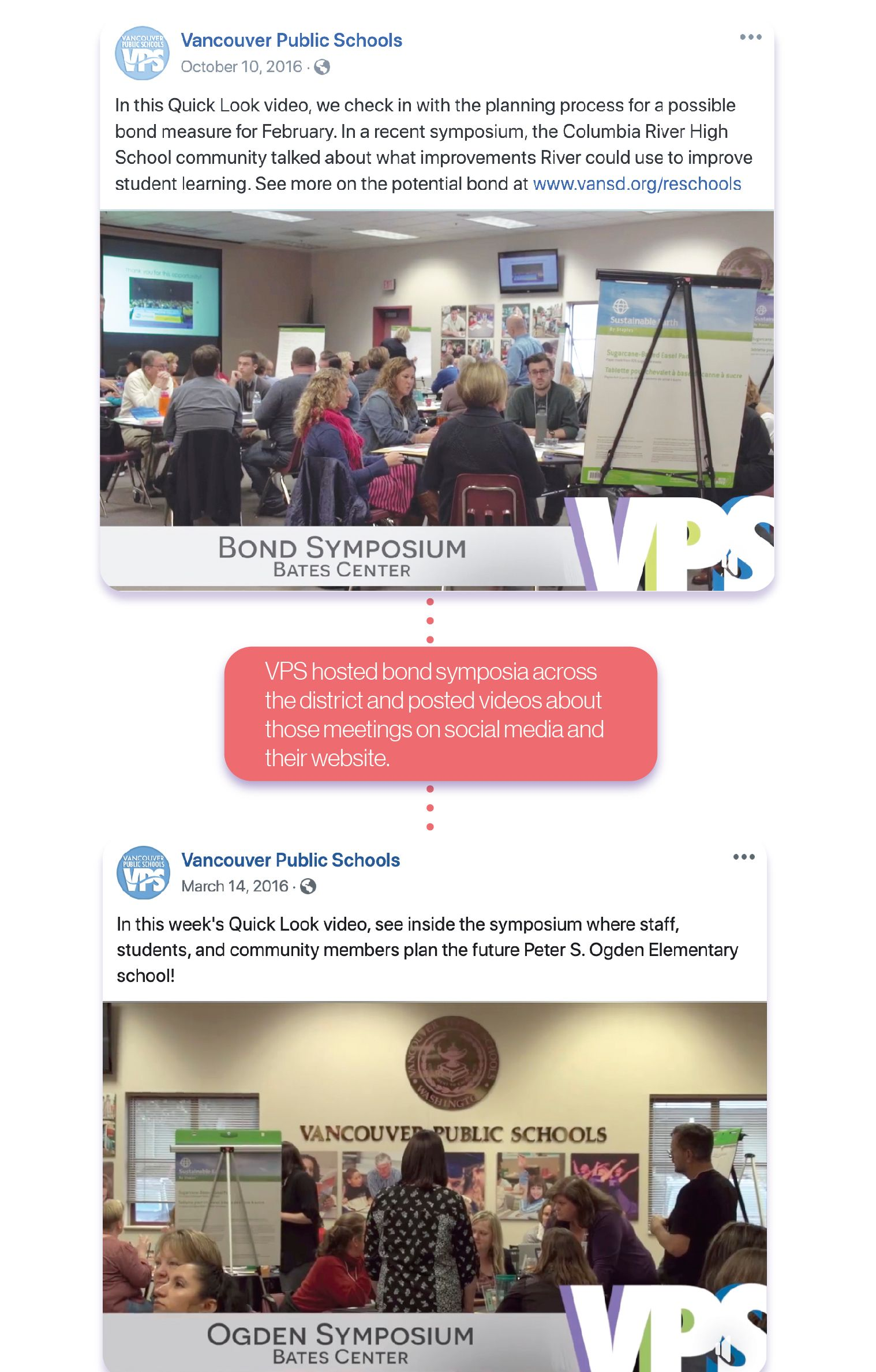 VPS hosted listening symposia across the district and then published photos and videos of the symposia online. Pictures showcase community conversations.
