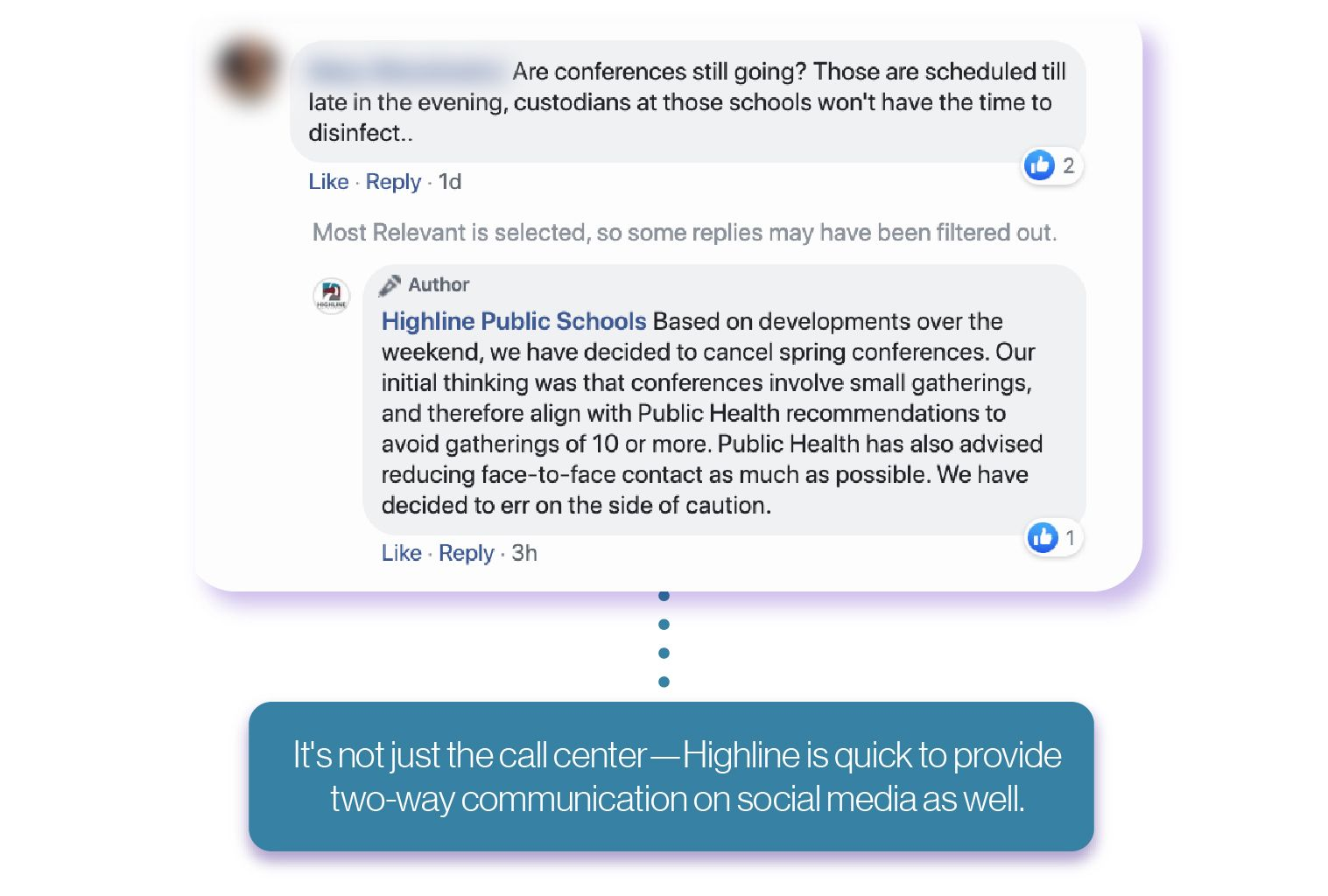 An example comment Facebook post from Highline schools shows the district responding to a community member with updated information.