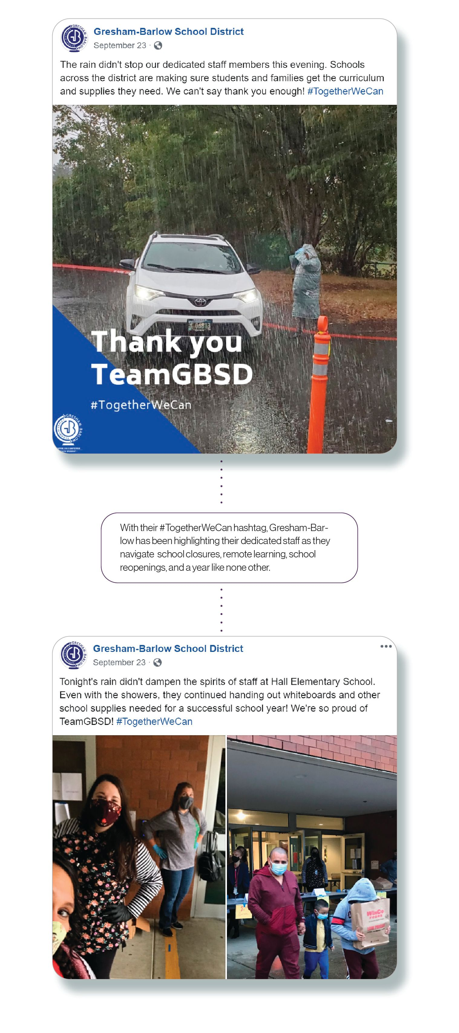 Images: two Facebook posts from Gresham-Barlow highlighting their staff's effort to support students and families, with the SchoolCEO caption,'With their #TogetherWeCan hashtag, Gresham-Barlow has been highlighting their dedicated staff as they navigate school closures, remote learning, school reopening, and a year like no other.'