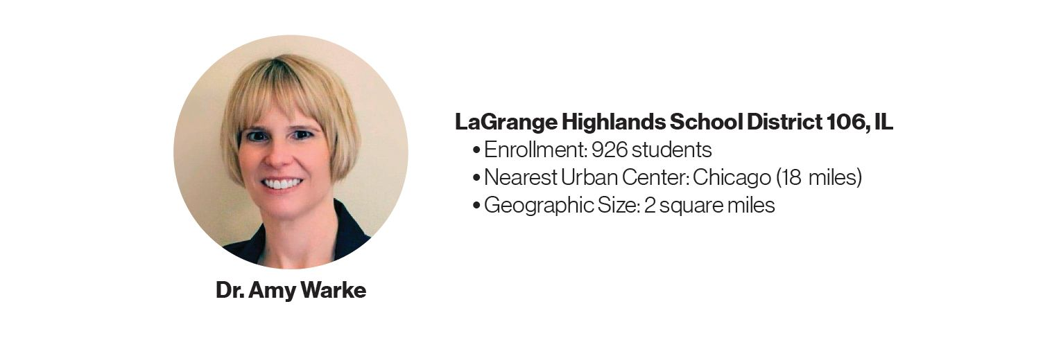 Picture of Dr. Amy Warke with some information about LaGrange Highlands School District 106, IL: Enrollment: 926 students; Nearest Urban Center: Chicago (18 miles); Geographic Size: 2 square miles.