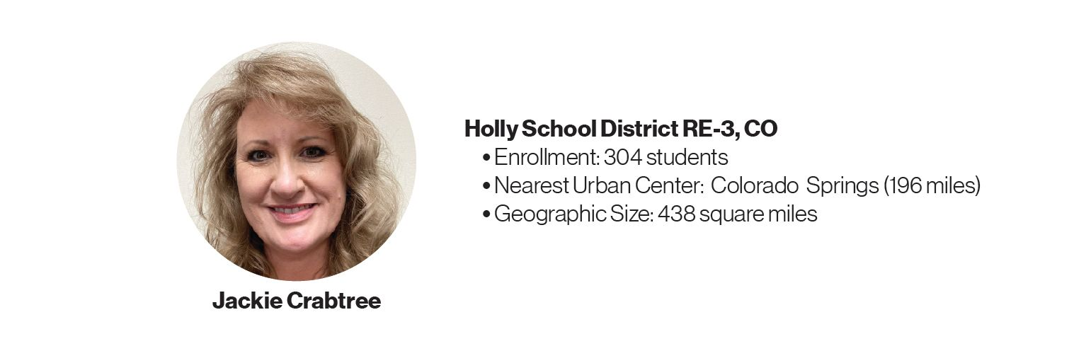Picture of Jackie Crabtree with some information about Holly School District RE-3, CO:	Enrollment: 304 students; Nearest Urban Center: Colorado Springs (196 miles); Geographic Size: 438 square miles