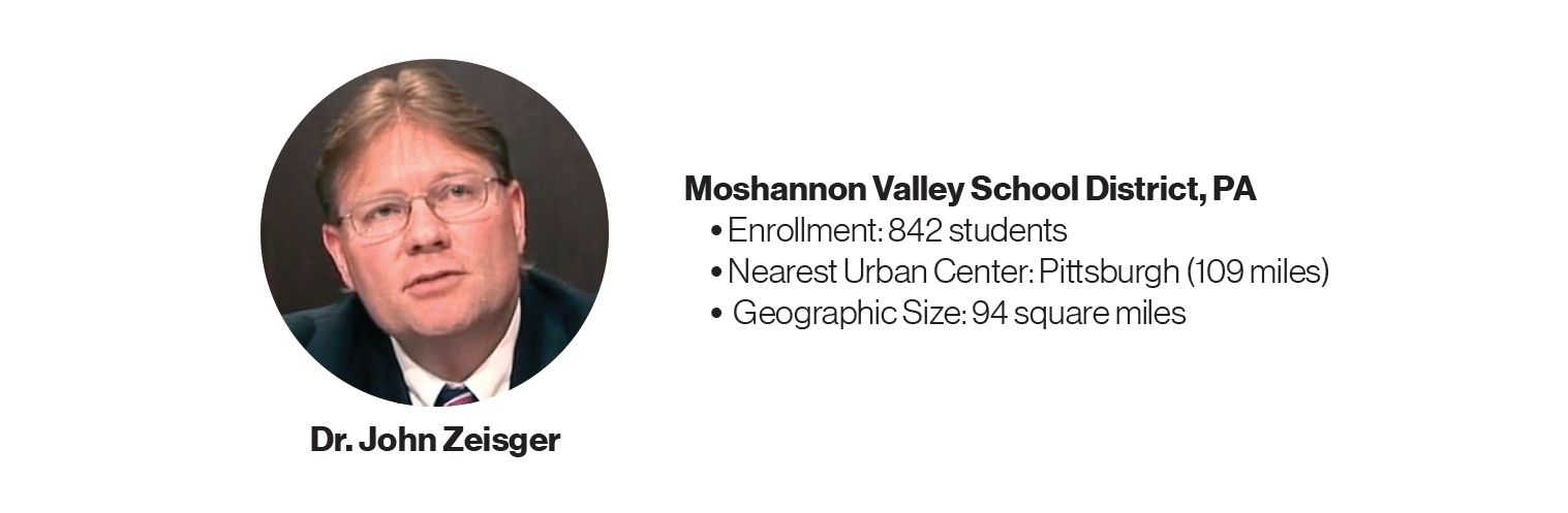 Picture of Dr. John Zeisger with some information about Moshannon Valley School District, PA: Enrollment: 842 students; Nearest Urban Center: Pittsburgh (109 miles); Geographic Size: 94 square miles