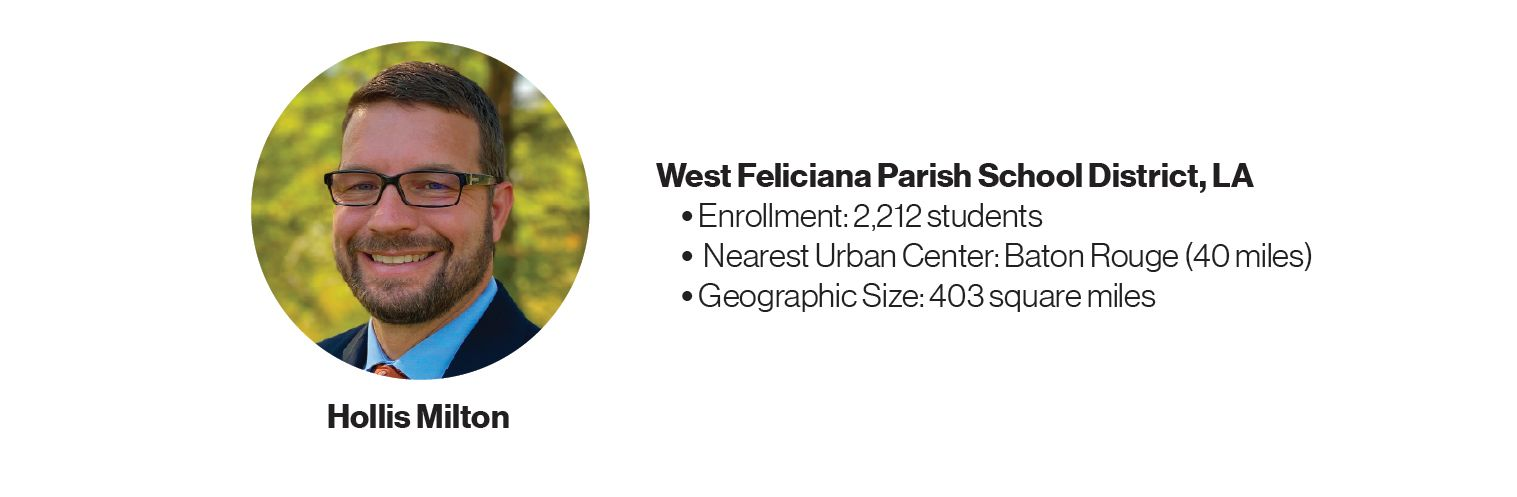 Picture of Hollis Milton with some information about West Feliciana Parish School District, LA: Enrollment: 2,212 students; Nearest Urban Center: Baton Rouge (40 miles); Geographic Size: 403 square miles