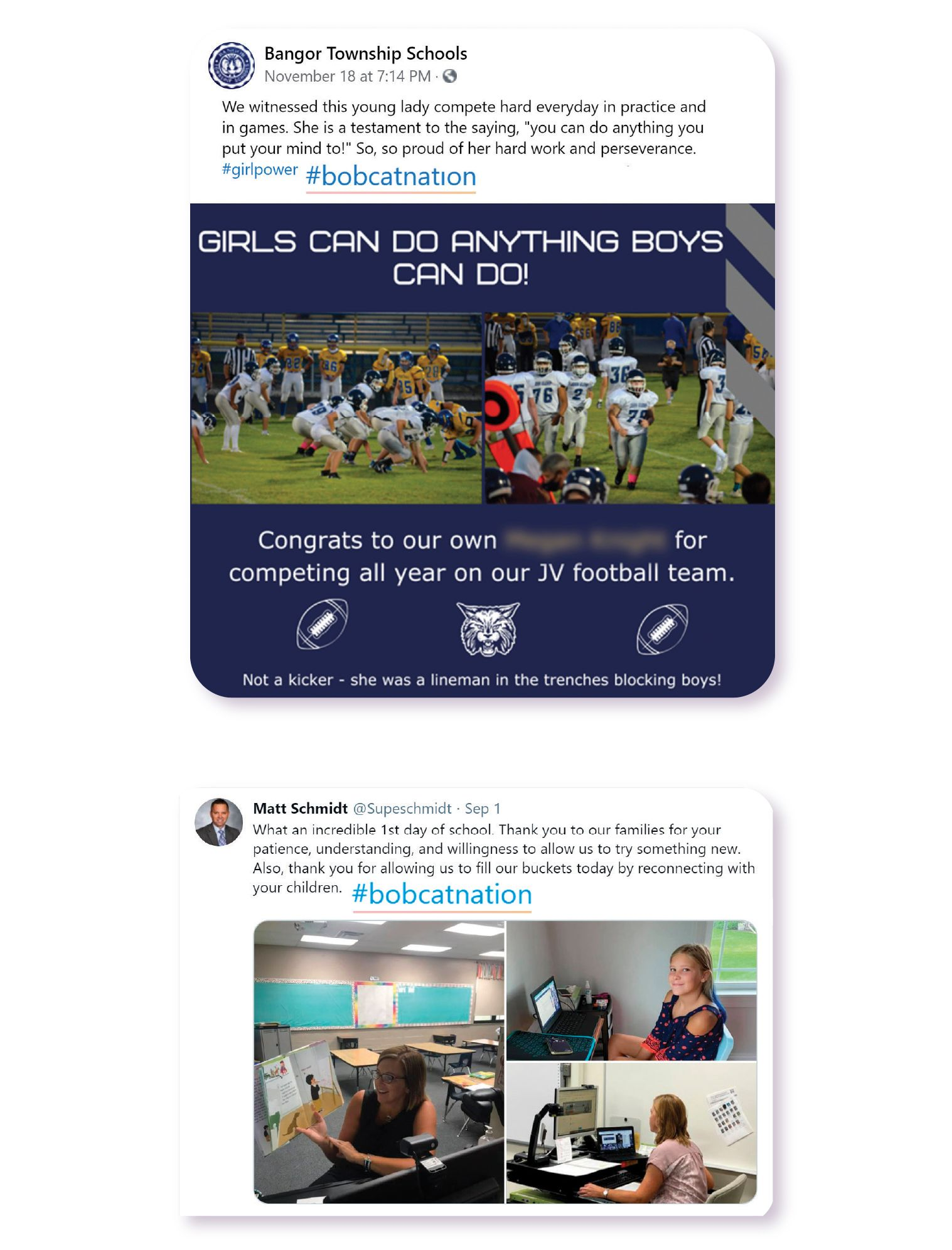 Images: Example of Bangor Township Schools using their hashtag @bobcatnation in a Facebook post celebrating student accomplishments on the athletic field as well as an example from Superintendent Matt Schmidt's Twitter feed.