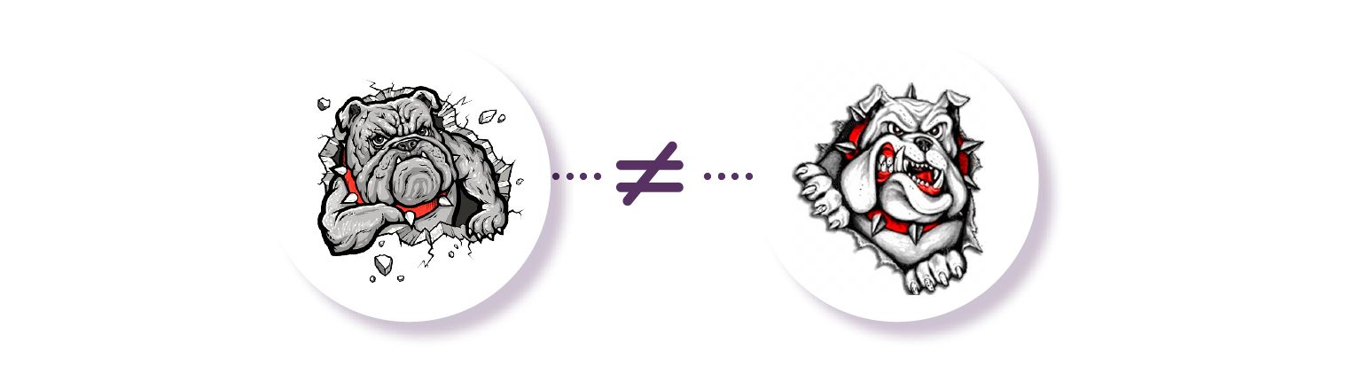 Image: Two gray bulldog mascots, one with a clenched jaw and the other with an open snarl. Despute both being bulldogs, this inconsistency in how they are portrayed means that they are not the same logo.