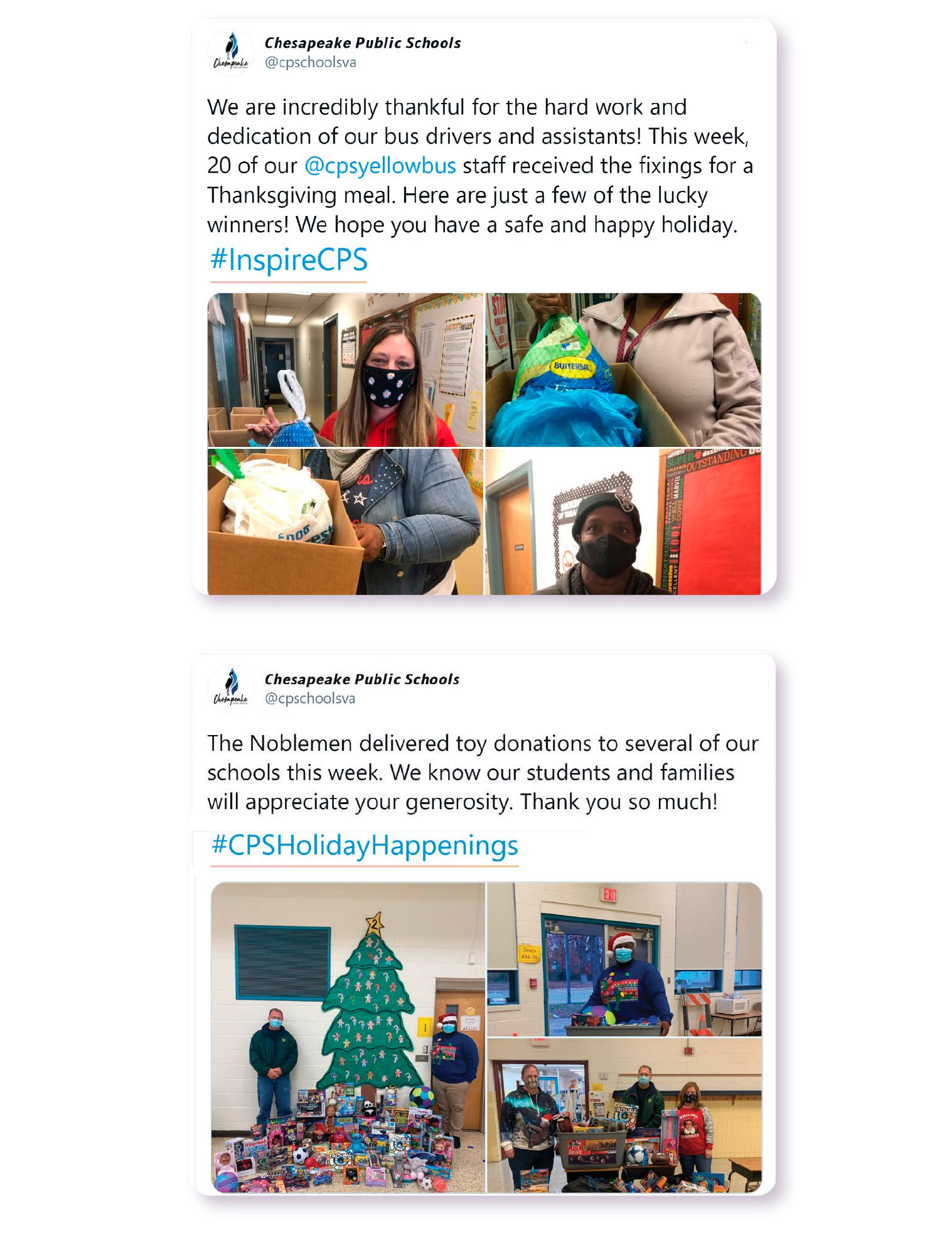 Image: In one Twitter post, Chesapeake Public Schools highlights their bus drivers while using the #InspireCPS hashtag. In another, the district celebrates a toy donation with the hashtag #CPSHolidayHappenings.