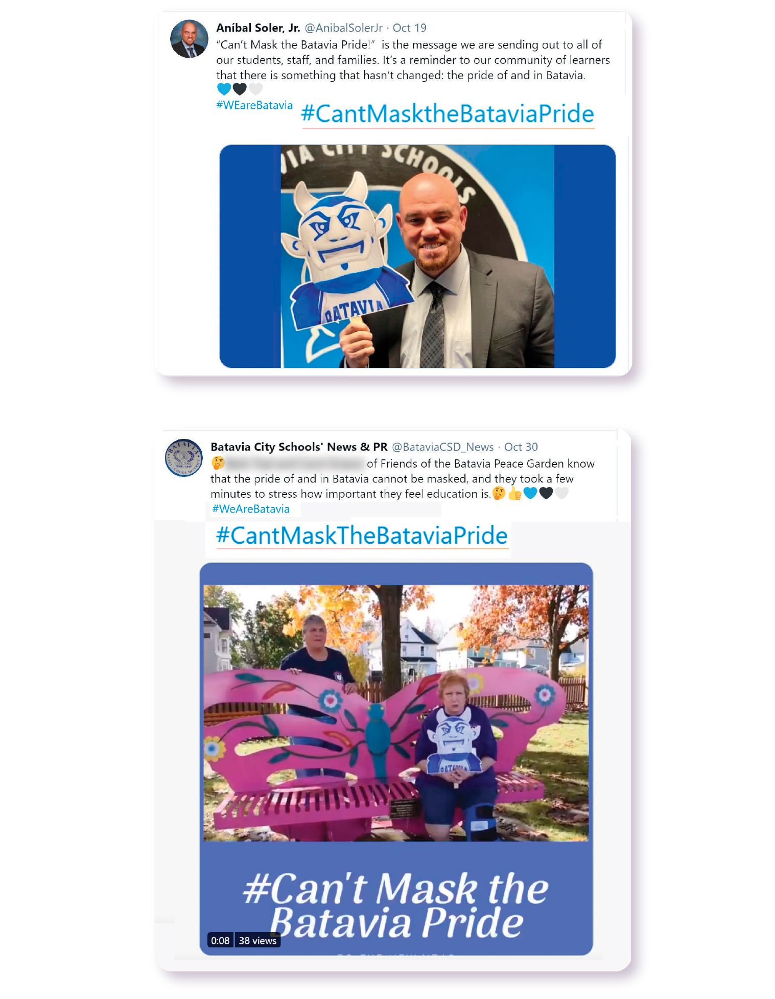 Image: Both the Batavia City School District and their Superintendent, Dr. Anibal Soler, Jr. utilize the hashtag #CantMasktheBataviaPride to showcase their community's school spirit on Twitter.