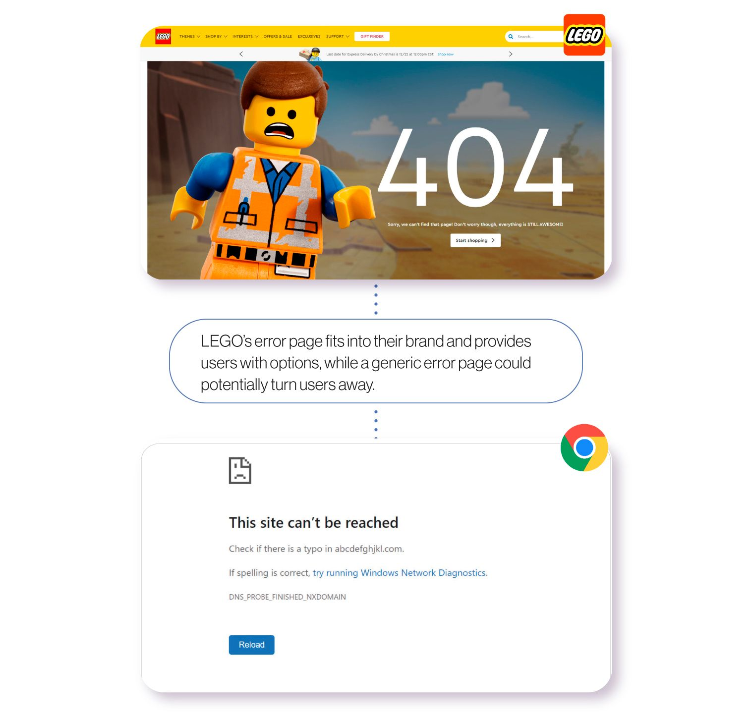 Image: Examples of error pages from LEGO and the Google Chrome web browser. LEGO's creative error page, featuring the Emmet character from The Lego Movie, fits into their brand and provides users with links to navigate to other parts of their website. A generic error page, on the other hand, could potentially turn site visitors away.