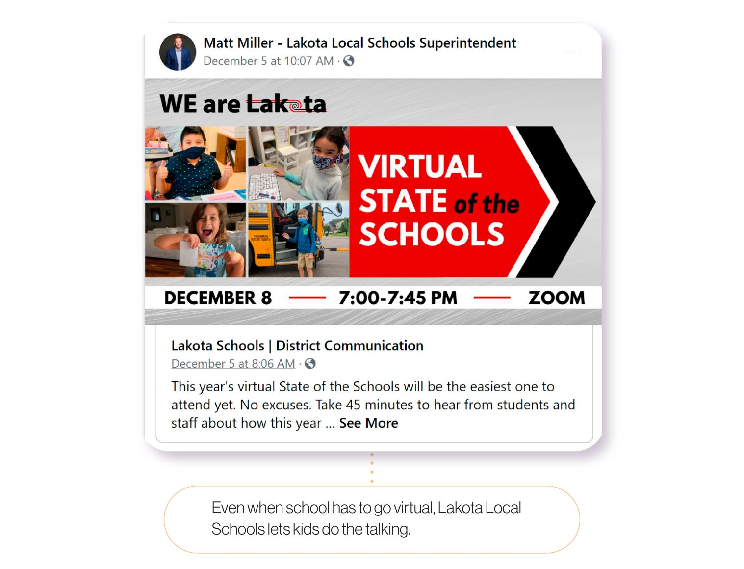 Image: A Facebook post from Lakota Local Schools Superintendent Matt Miller, highlighting students as part of his State of the Schools. Even when schools go virtual, Lakota Local Schools lets students do the talking.