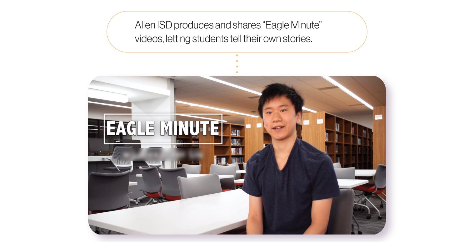Image: A still from one of Allen ISD's Eagle Minute videos. Allen ISD produces and shares these Eagle Minute videos as a way for students to tell their own stories.