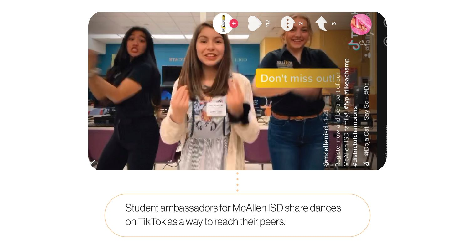 Image: A still from one of McAllen ISD's TikTok videos. Student ambassadors from McAllen ISD share dances on TikTok as a way to reach their peers.