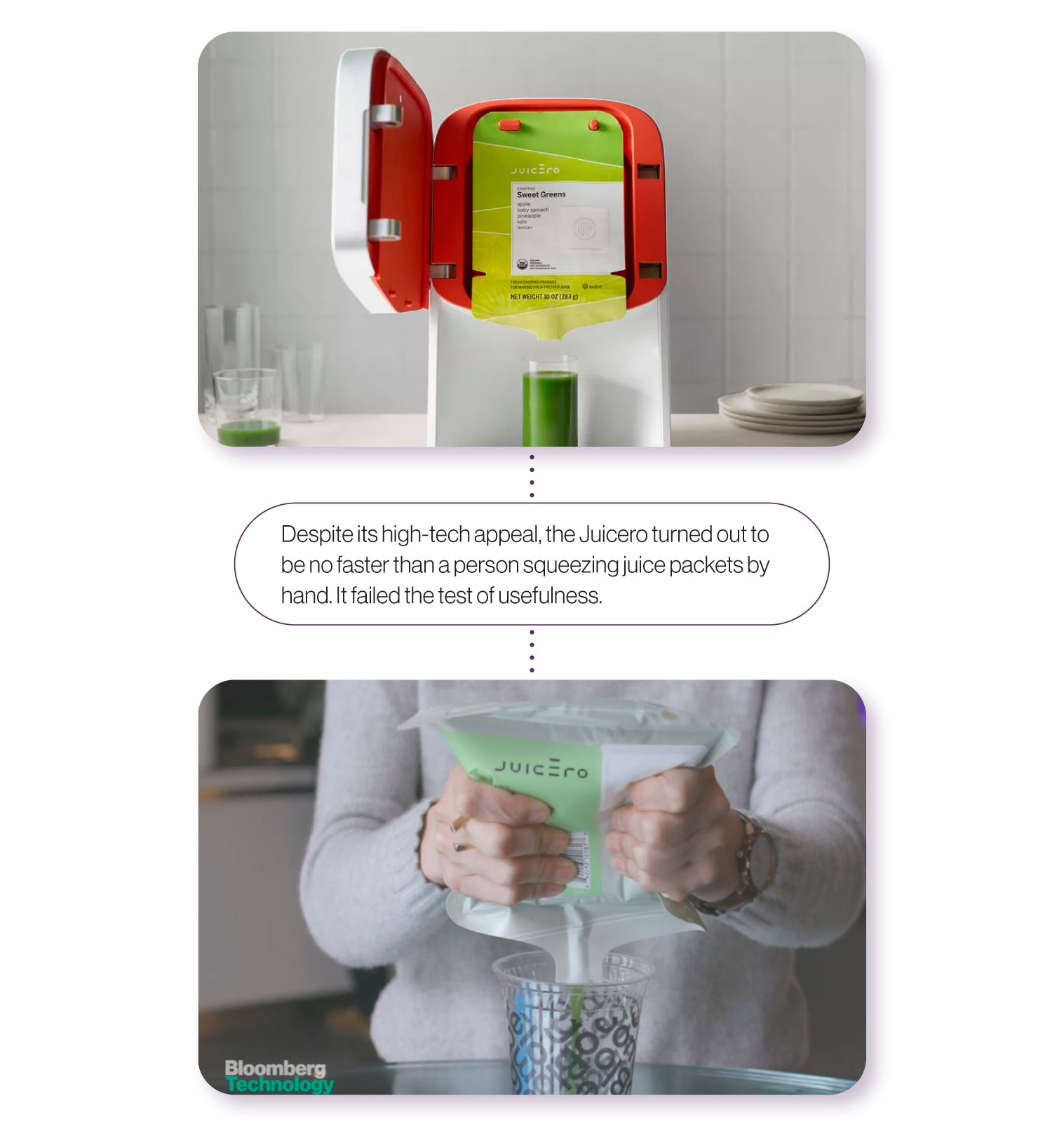 Image: An image of the Juicero jucicer, alongside a still from the Bloomberg video putting it to the test. Despite its high-tech appeal,the Juicero turned out to be no faster than a person squeezing juice packets by hand. It failed the test of usefulness.