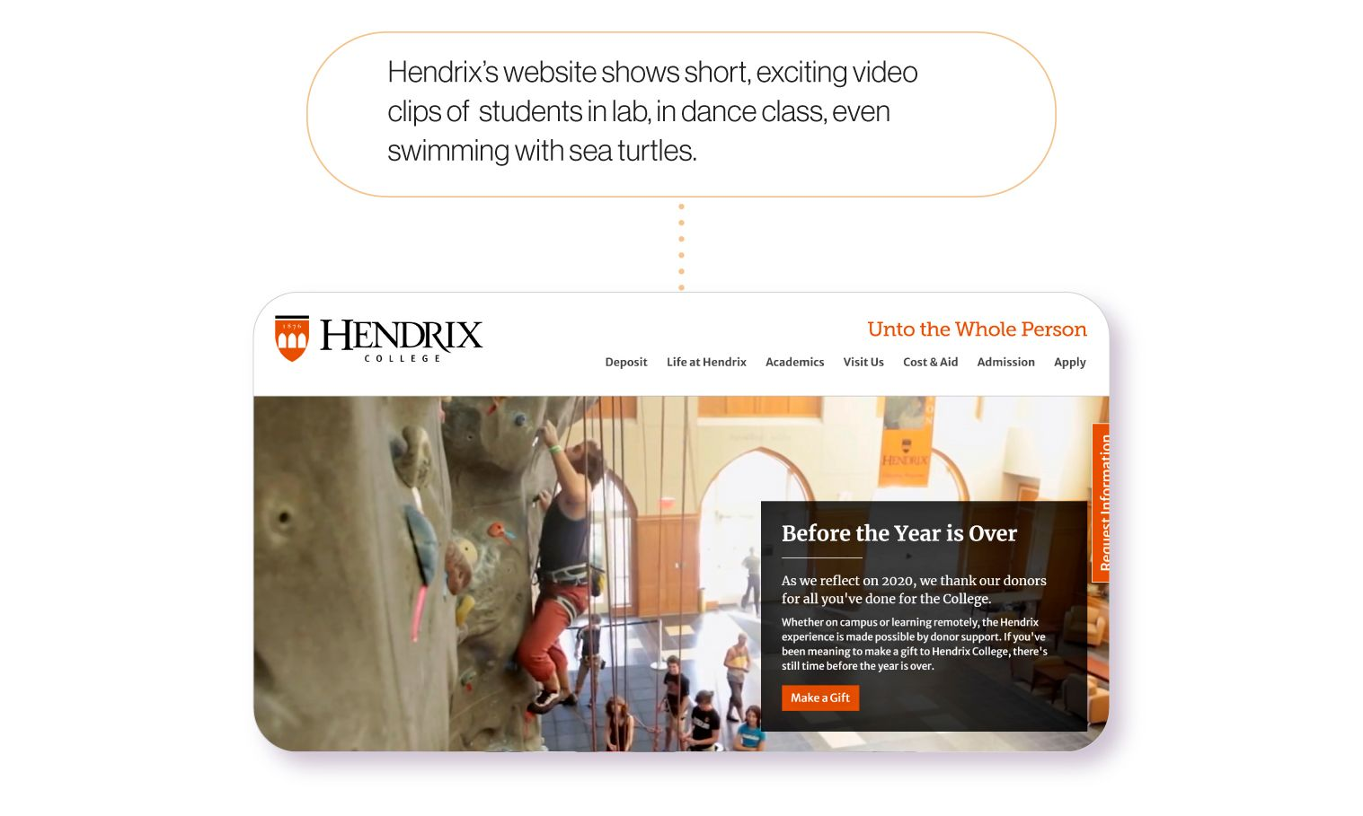 Image: Hendrix College's homepage. Hendrix's webpage shows short, exciting video clips of students in lab, in dance class, even swimming with sea turtles.