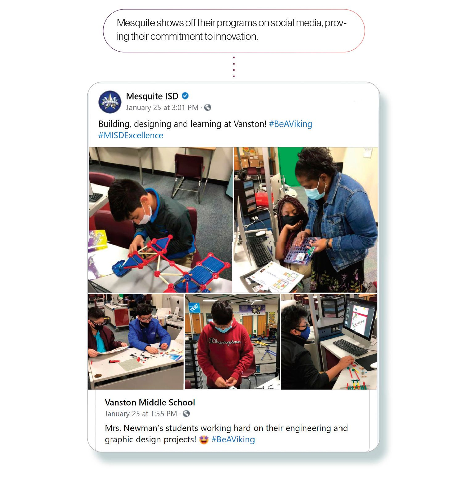 Image: A Facebook post by Mesquite ISD showcasing middle school students working on graphic design and engineering projects, with the SchoolCEO caption 'Mesquite shows off their programs on social media, proving their commitment to innovation'