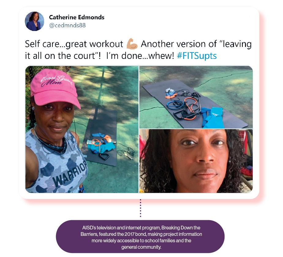 Image: A Tweet from Catherine Edmonds about her workout, with the SchoolCEO caption '#FitSupts is all about self-care, whether through exercise, meditation, or even time with friends.'