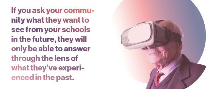 Old man with a virtual reality headset, with the pull-quote 'If you ask your community what they want to see from your schools in the future, they will only be able to answer through the lens of what they've experienced in the past.'