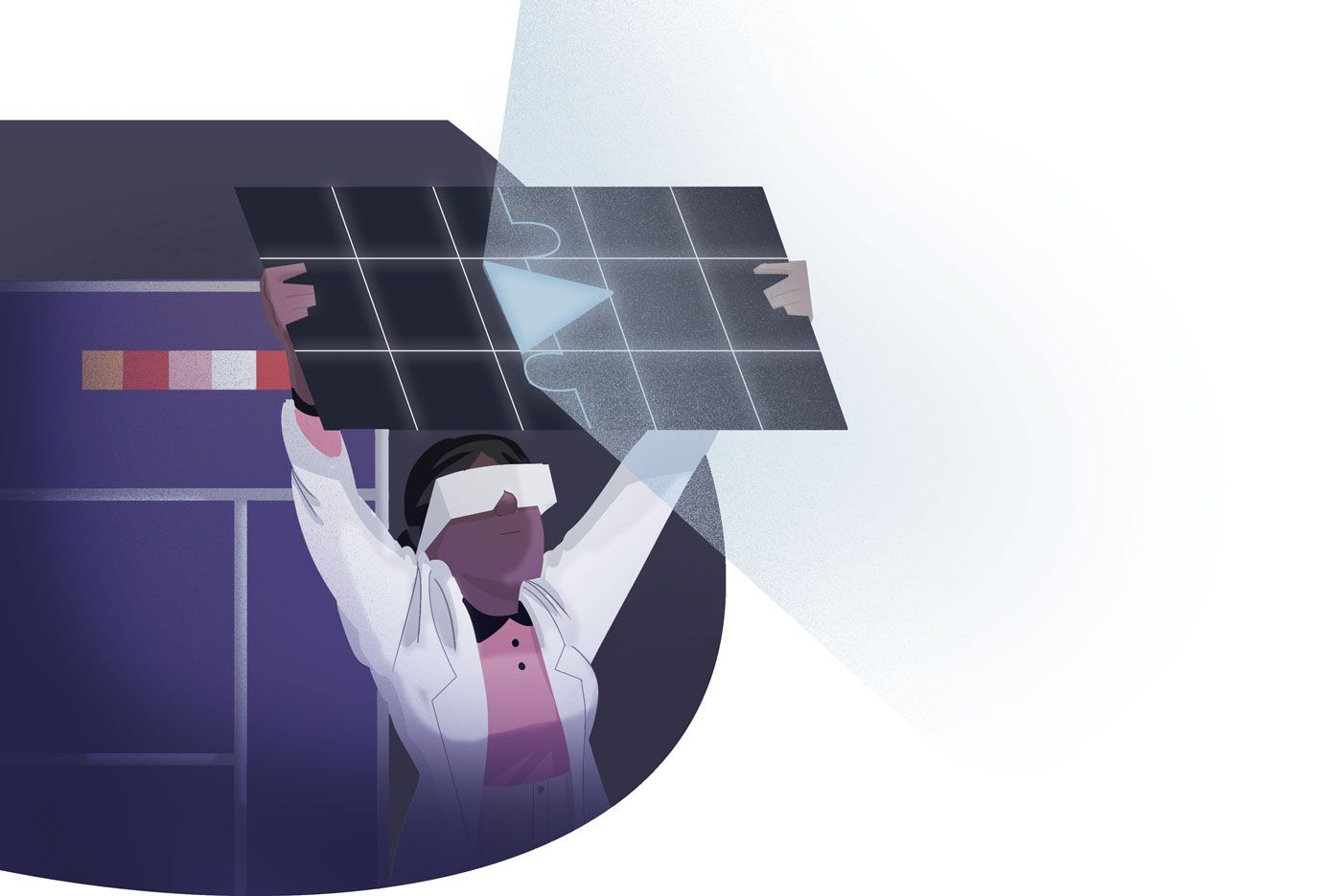 A scientist holding up a solar panel-like piece of technology, with light shinning from it.